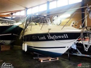 A Lord Bothwell boat in a storage facility